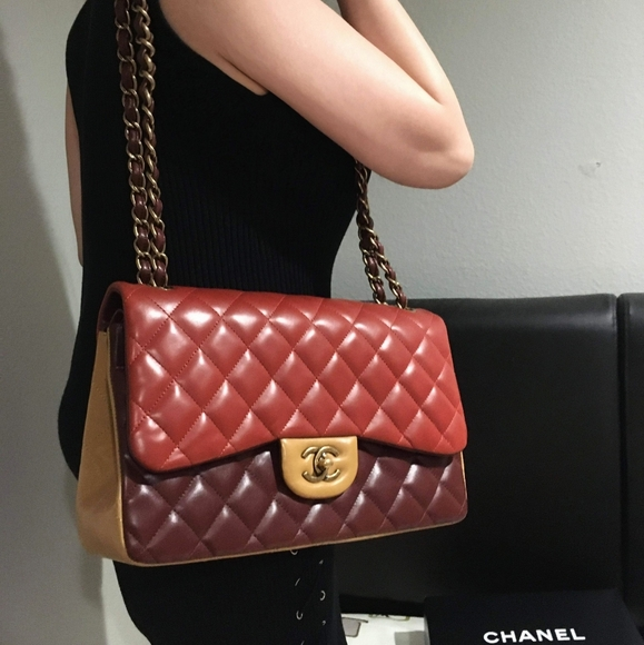 CHANEL Handbags - Chanel Tricolor Classic Jumbo Double Flap Bag
